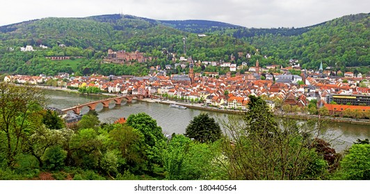 Panoramic view of Heidelberg old town and Rhine river, Germany