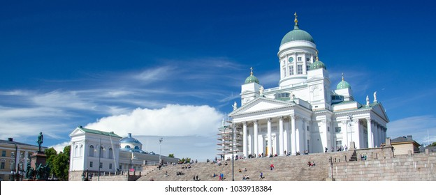 Panoramic view of Helsinki Cathedral and Statue Of Emperor Alexander II Of Russia on the Senate Square, Helsinki, Finland
