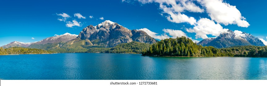Panoramic view of Hidden Lake from Bariloche in Argentina.