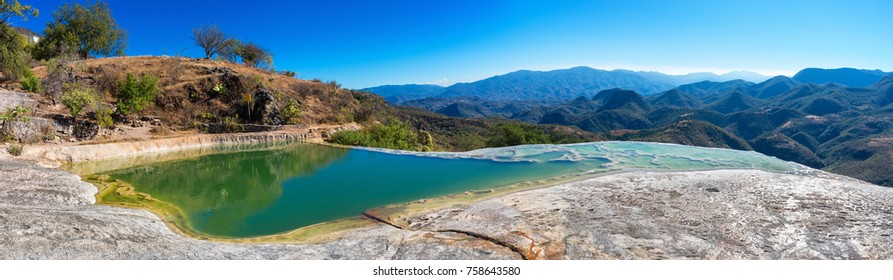 Panoramic view of Hierve el Agua, thermal spring in the Central Valleys of Oaxaca, Mexico