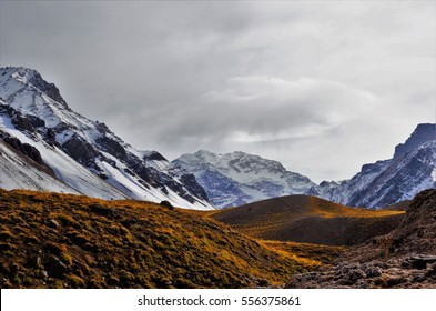 Panoramic view of the highest mountain in South America Aconcagua close to Mendoza in Argentina
