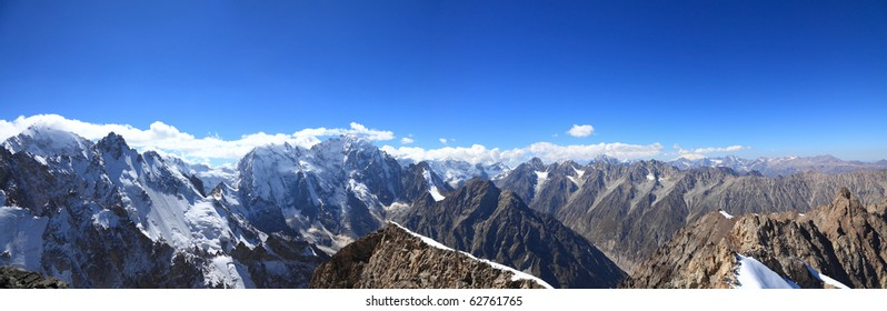 Panoramic view of the highest part of the main Caucasian ridge. From left to right tops are visible: Koshtan-tau (5150), Mizhirgi (5109), Dyh-tau 5206?), Gestola (4860?)