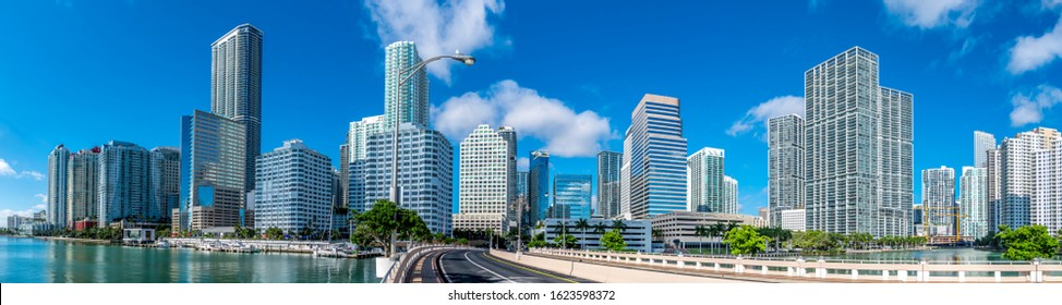 Panoramic view of highrise buildings in Brickell, Miami.
