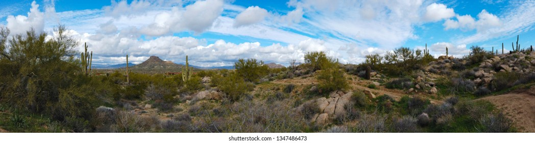 Panoramic view of a hiking trail in North Scottsdale