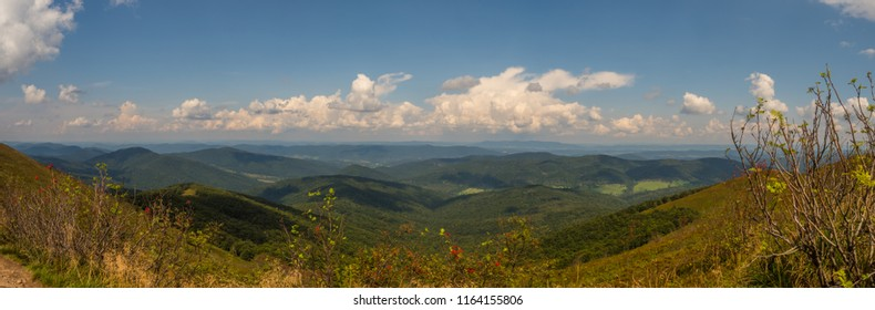Panoramic view from hiking trail to Tarnica mount, Bieszczady Mountains, Carpathians, Poland