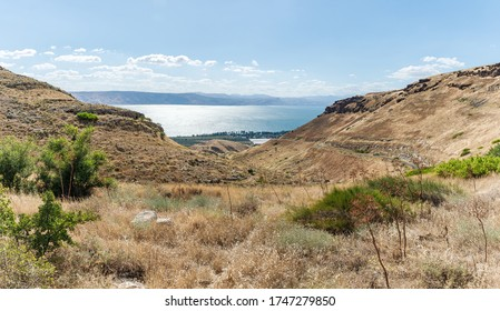 Panoramic view from a hill located on the Golan Heights in northern Israel on the Sea of Galilee