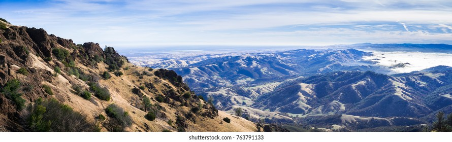 Panoramic view of the hills and valleys surrounding Mt Diablo on a sunny morning, Mt Diablo State Park, Contra Costa county, San Francisco bay area, California