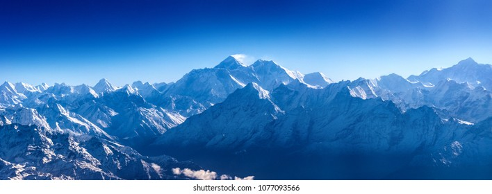 Panoramic view of Himalaya with Mount Everest in Sagarmatha National Park, Nepal