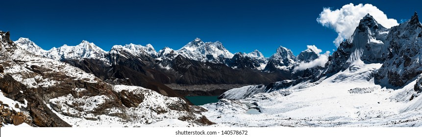 Panoramic view of Himalaya peaks: Everest, Lhotse, Nuptse and others. Trekking in Himalaya. Ultra high resolution