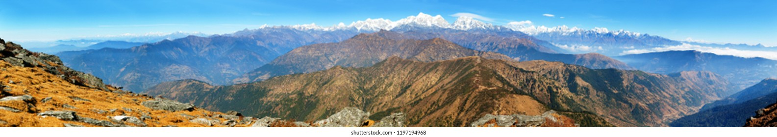 Panoramic view of himalaya range from Pikey peak - trekking trail from Jiri Bazar to Lukla and Everest base camp, nepalese himalayas, mounts Everest and Lhotse, Nepal Himalayas
