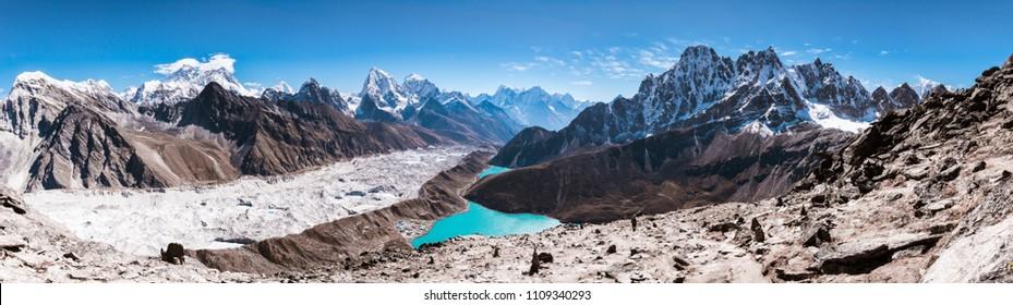 Panoramic view of Himalayan Mountains from Gokyo Ri (5,360m) with Gokyo Lake,  Everest, Nuptse, Lhotse, Phari Lapcha and More, Gokyo, Sagarmatha national park, Everest Base Camp 3 Passes Trek, Nepal