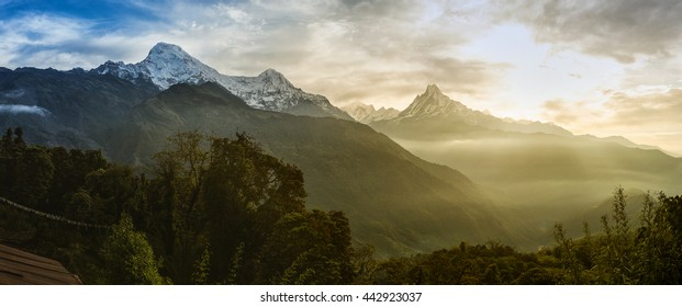 Panoramic view of the himalayan peak the 6993 ms. mount Machhapuchhare-Fish Tail and Annapurna South, Nepal.