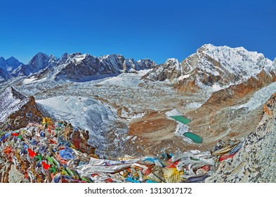 Panoramic view of himalayas from Kala Patthar, way to Everest base camp, Sagarmatha national park, Khumbu valley, Solukhumbu, Nepal Himalayas mountains