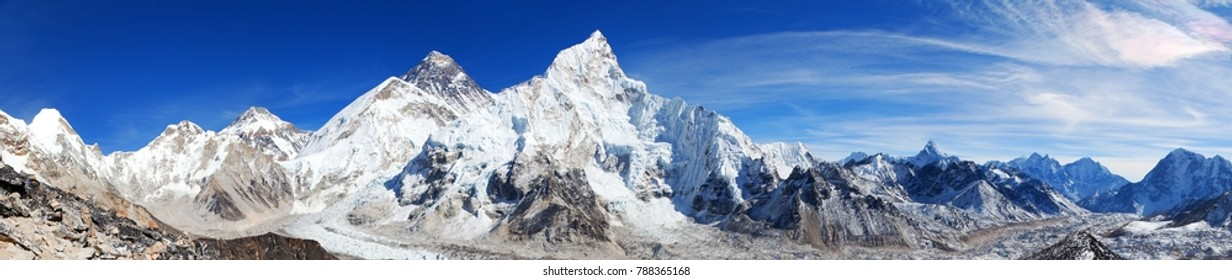 Panoramic view of himalayas mountains, Mount Everest and Khumbu Glacier from Kala Patthar - way to Everest base camp, Khumbu valley, Sagarmatha national park, Nepalese himalayas