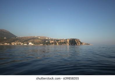 Panoramic view to Himara(Himare) coastline from the Ioanian sea, Albania, July 2015