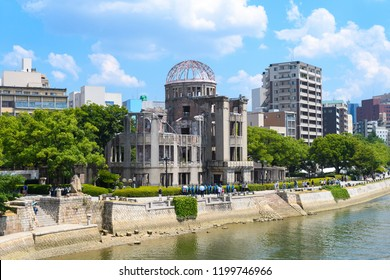 panoramic view of hiroshima city and famous atomic bomb dome, Japan