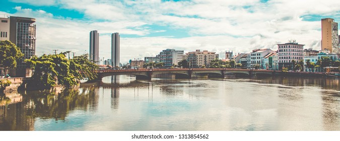 Panoramic view of the historic architecture of Recife in Pernambuco, famous bridges over the Capibaribe river