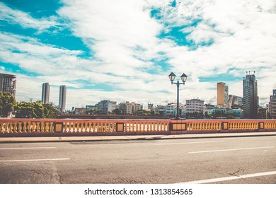 Panoramic view of the historic architecture of Recife in Pernambuco, from the famous bridges over the Capibaribe river