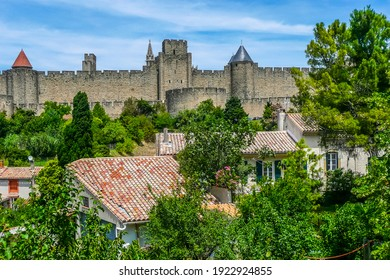 panoramic view of the historic center of Carcassonne surrounded by the walls of an old castle