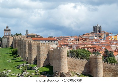 Panoramic view of the historic city of Avila from the Mirador of Cuatro Postes, Spain, with its famous medieval town walls. UNESCO World Heritage