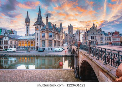 Panoramic view of the historic city center of Ghent with Leie river illuminated in beautiful twilight, Ghent, East Flanders, Belgium