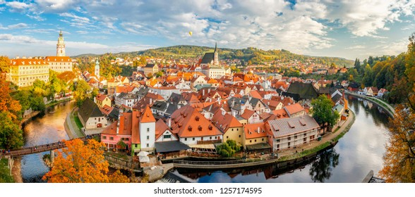 Panoramic view of the historic city of Cesky Krumlov with famous