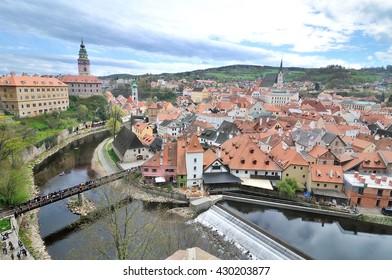 Panoramic view of the historic city of Cesky Krumlov with Vltava  river, Czech Republic.