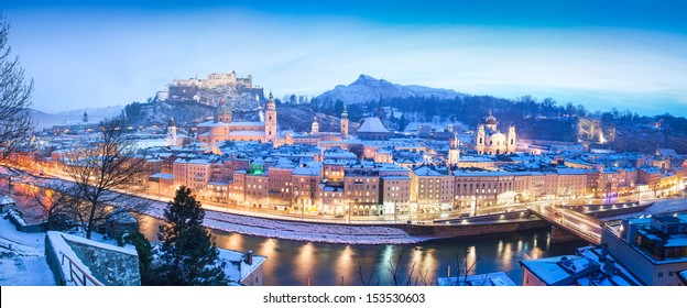 Panoramic view of the historic city of Salzburg with Festung Hohensalzburg and river Salzach in winter, Salzburger Land, Austria