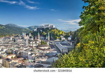 Panoramic view of the historic city of Salzburg with Hohensalzburg Fortress, Salzburger Land, Austria