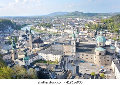 panoramic view of the historic cty of Salzburg with Salzach river,Salzburg, Austria