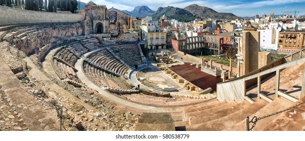 Panoramic view of historic Roman Theater in Cartagena, Spain