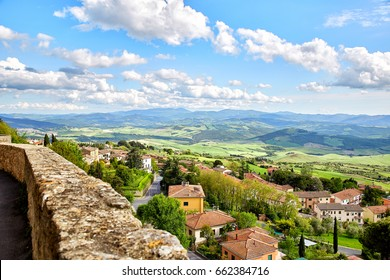 Panoramic view of historic tuscan city Volterra, Italy
