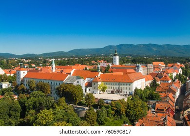 Panoramic view of historic upper town in Zagreb, capital of Croatia