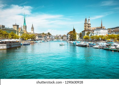Panoramic view of historic Zurich city center with famous river Limmat at Lake Zurich on a sunny day with clouds in summer, Switzerland