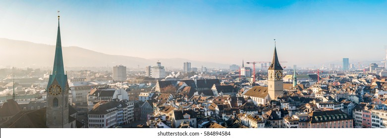 Panoramic view of historic Zurich city center with Limmat river Switzerland