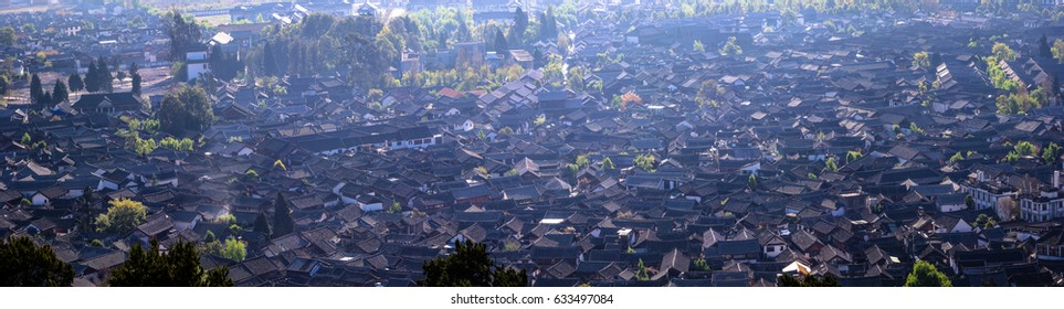 Panoramic view of historical Lijiang Old Town architectures roof in Lijiang China