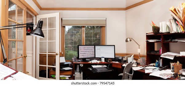 Panoramic view of a home office