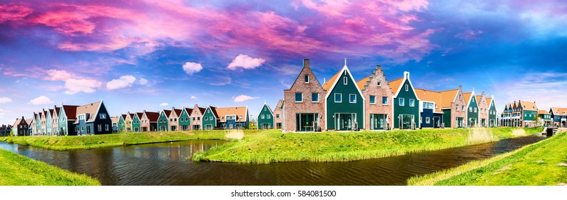 Panoramic view of homes along Volendam canal, The Netherlands.