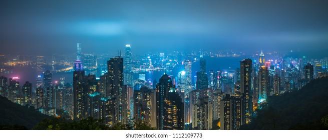 Panoramic view of Hong Kong city skyline at night