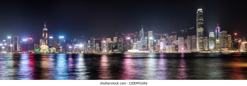 Panoramic view of Hong Kong City at night. Skyline Panorama