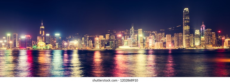 Panoramic view of Hong Kong City at night. Skyline Panorama