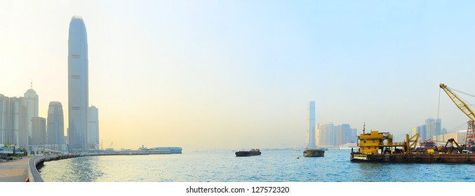 Panoramic view from Hong Kong to Kowloon island