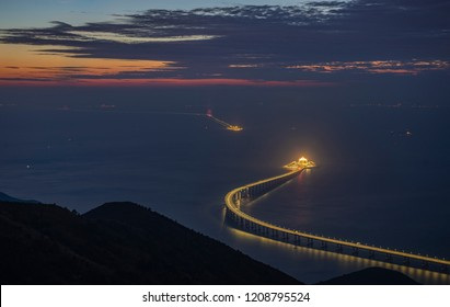 Panoramic view of Hong Kong-Zhuhai-Macau Bridge is seen at sunset. The 55km bridge, the world's longest sea crossing, will open on October 24, 2018.