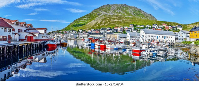 Panoramic view of Honningsvag town from the port in Mageroya island.  Nordkapp Municipality in Finnmark county.