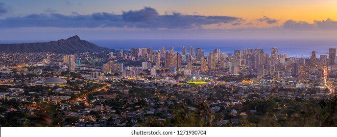Panoramic view of Honolulu city, Waikiki and Diamond Head from Tantalus lookout - Image