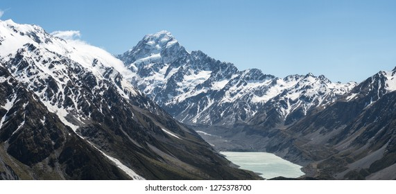 Panoramic view up the Hooker valley from the top of the Tarns Track to Mount Cook with Hooker Lake in front. Aoraki/Mount Cook National Park, New Zealand.