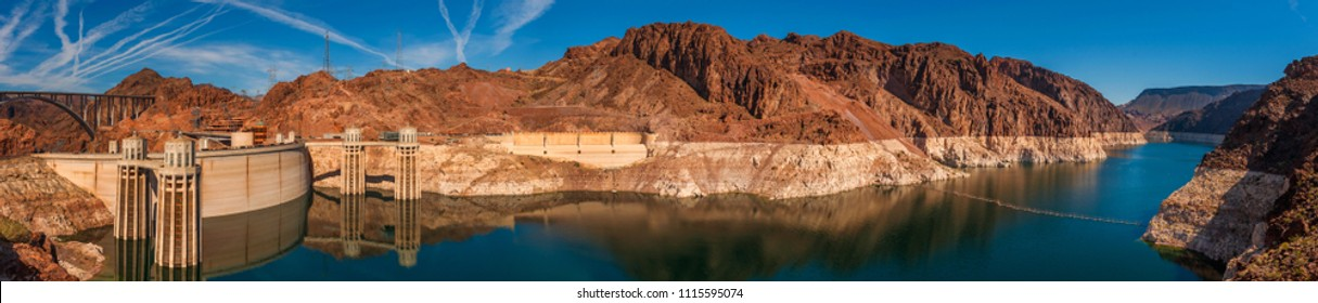 Panoramic View of Hoover Dam, Utah. Attracting more than a million visitors a year, Hoover Dam is located in Black Canyon, just minutes outside of Las Vegas on the Colorado River.