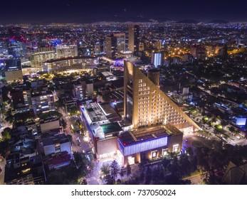 Panoramic view of Horacio Avenue near Polanco. Aerial view near the Palacio de Hierro at night