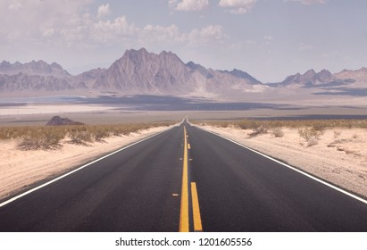 panoramic view of hot summer road through the Nevada  desert