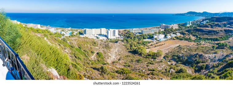 Panoramic view of hotels on Mediteranean sea coast near Faliraki (Rhodes, Greece)